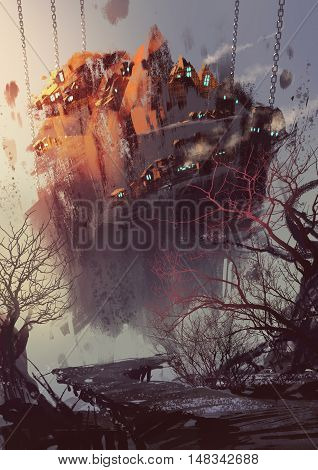 painting of science fiction concept with hanging village, illustration art