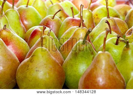 beautiful ripe pears as an element of useful food