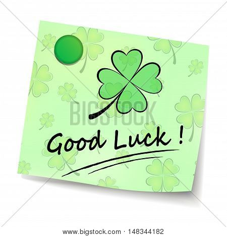 Illustration of good luck note on white background