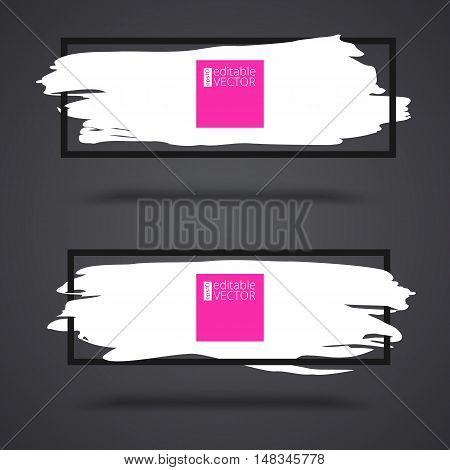 White, grunge banners on dark background with frame. Set of banners for greeting card, certificate, luxury design and presentation