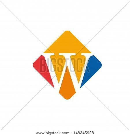 Vector color sign initial letter W isolated in white
