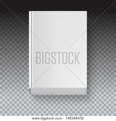 White book template on transparent background with accurate shadow, top view. Grayscale mock-up for your presentation or design, vector eps10 illustration