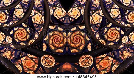 Abstract mosaic ornament with stylized roses on black background. Symmetrical pattern. Fantasy fractal design in navy blue orange and beige colors.