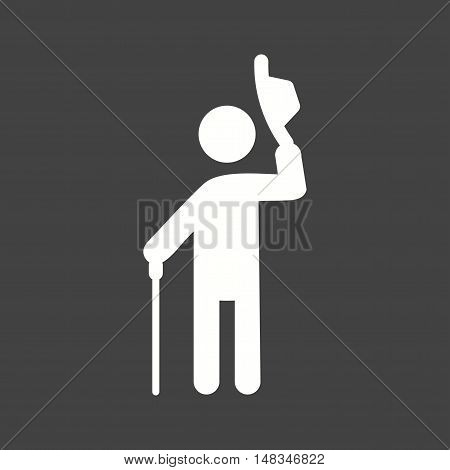 Man, elegant, salute icon vector image. Can also be used for people. Suitable for web apps, mobile apps and print media.