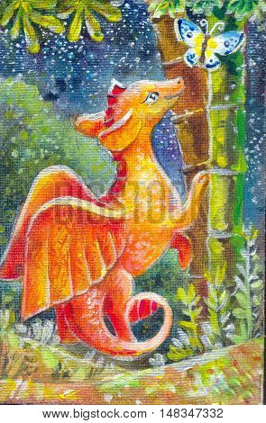 children's illustration of a dragon at night. Oil painting on canvas. Cute character. Symbol of good luck. Illustration for background poster wallpaper books and more. Drawing by hand. children's illustration of a red dragon night. Oil painting on canvas.