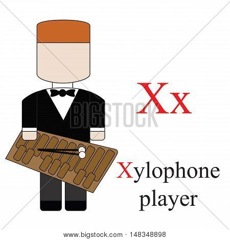 Letter X alphabet of professions. Xylophone player. ABC education cards for kids.