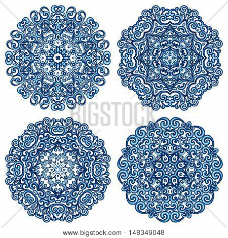 Set of mandalas in gzhel style. Orient round ethnic patterns isolated on white background. Traditional lace ornaments. Arabic, asian, islamic, indian motifs. Vector illustration.
