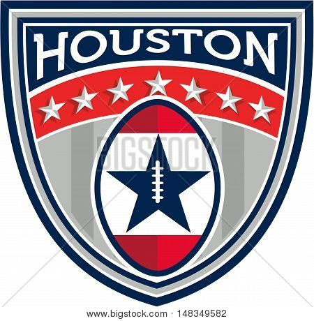 Illustration of an American football ball big game set inside shield crest with stars and stripes and the word Houston done in retro style.