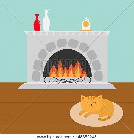 Cute cat lying sleeping on oval carpet rug mat. Funny cartoon character. Fireplace with vase set and clock. Burning fire. Flat design. Vector illustration