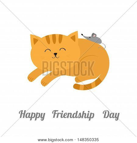 Cute lying sleeping orange cat with moustache whisker. Little mouse. Animal friends. Funny cartoon character couple. White background. Isolated. Flat design. Vector illustration