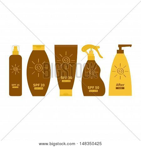 Tube of suntan oil cream. After sun lotion. Bottle set. Solar defence icon. SPF 15 20 30 50 sun protection factor. UVA UVB sunscreen. Isolated. White background. Flat design. Vector illustration
