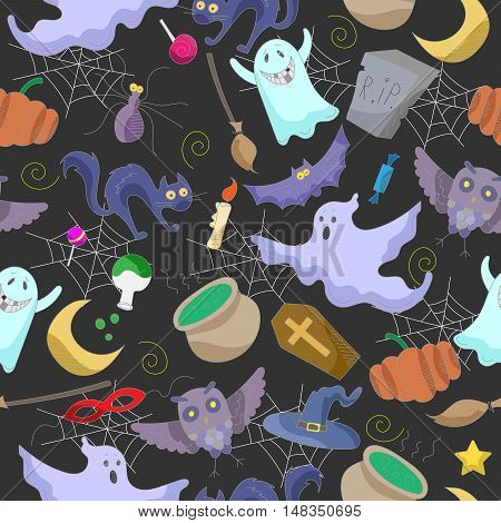 Seamless pattern on the theme of Halloween color images on a dark background