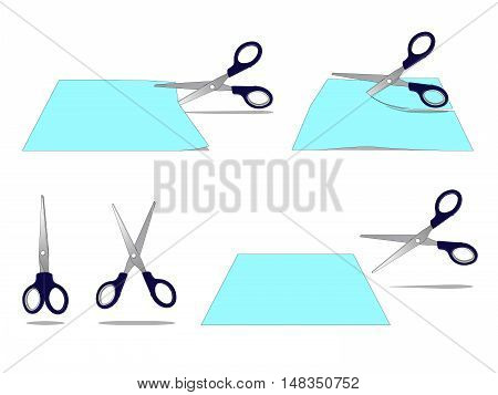 Set of Scissors Cutting a Paper separate images. Digital painting full color cartoon style illustration isolated on white background.
