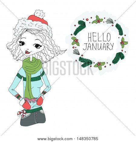 Hello January Colorful Illustration with a Hello January Typography Lettering, Winter Holiday Wreath and a Fashion Girl. Artistic Fashion Hello January Vector Illustration for Print, Blogging
