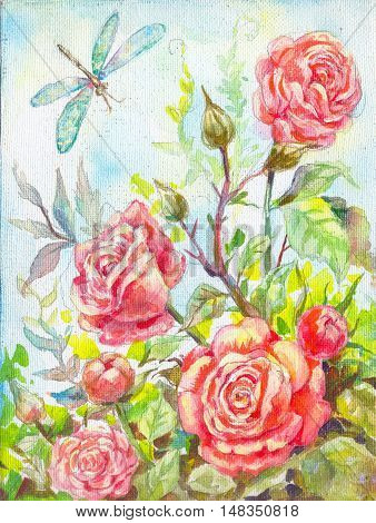 Roses oil painting. Flower composition. Picture risovannnaya by hand. Illustration for a poster packaging invitations wallpapers cover notebooks and more. colored drawing