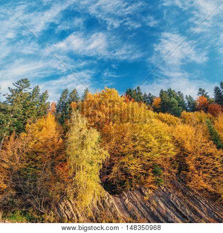 beautiful Landscape, mountain rocky shore in autumn forest undre blue sky