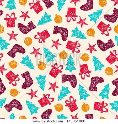 Raster Vintage Christmas Seamless Pattern for Christmas Wrapping Paper. Xmas Illustration with Presents, Santa's Socks, Christmas Tree, Christmas Toys and Stars. Grunge Retro Style