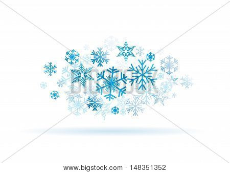 Vector Winter Background, blue ice and snow