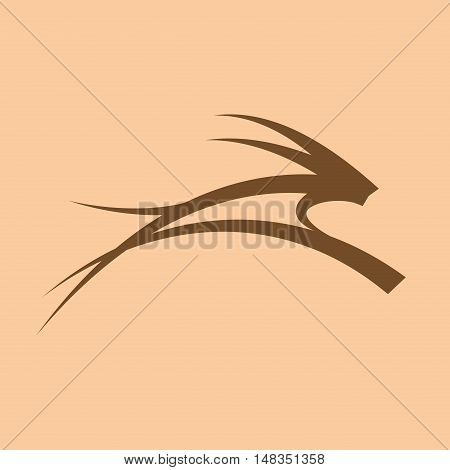 vector sign gazelle in Africa  isolated in blown