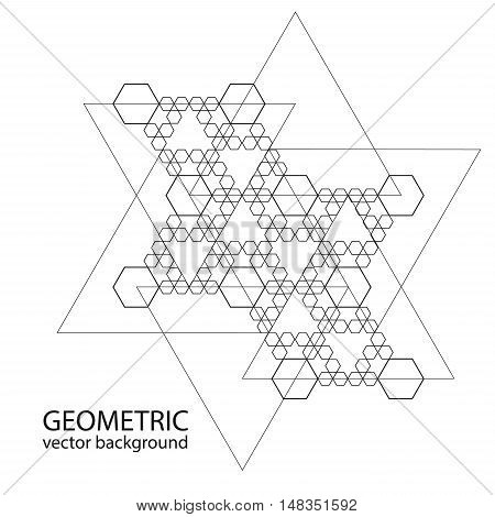 Vector geometric background. Sacred Geometry. Black and white pattern.