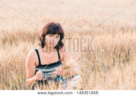 Beauty Woman In Barley Field
