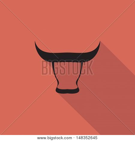 Vector sign Bull shadow  isolated in red