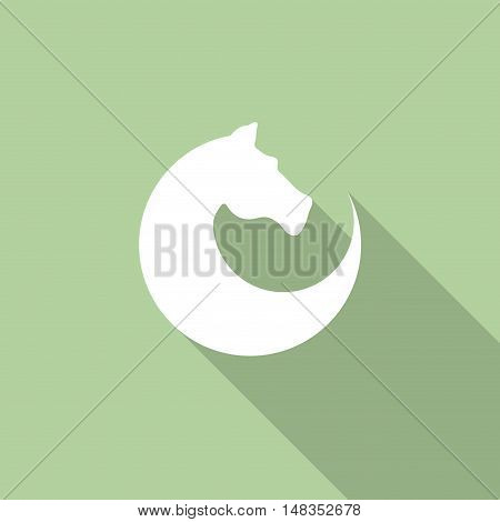 Vector sign horse in motion  isolated in green