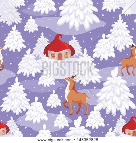 Christmas seamless pattern with the image of a fairy-tale winter forest, small houses and fawns
