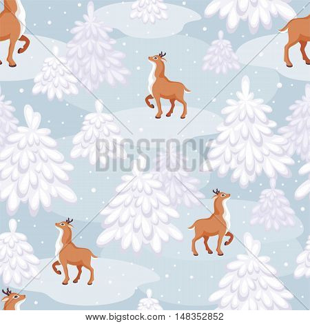 Christmas seamless pattern with the image of a fairy-tale winter forest  and fawns
