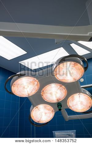 Close-up of surgical light in operation room at hospital