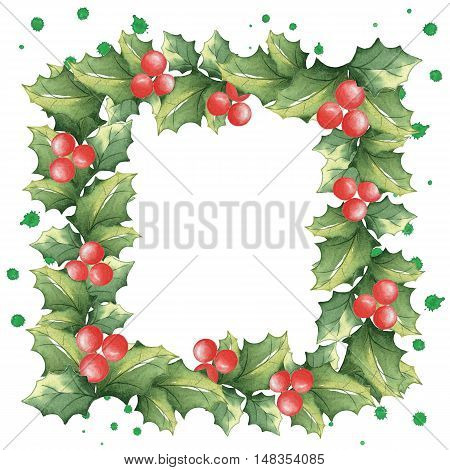Square frame of Christmas mistletoe with watercolor splashes. Festive background. Handmade drawing. Isolated on white.