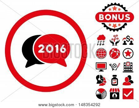 2016 Chat icon with bonus images. Vector illustration style is flat iconic bicolor symbols intensive red and black colors white background.