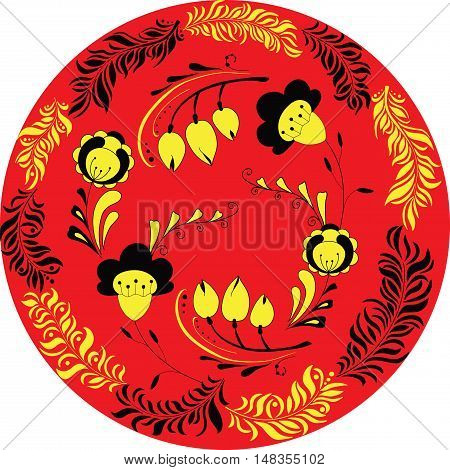 Vector illustration of circle made of flowers and leaves. Round shape made of leaves and flowers. Russian style