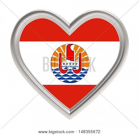 French Polynesia flag in silver heart isolated on white background. 3D illustration.