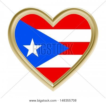 Puerto Rico flag in golden heart isolated on white background. 3D illustration.