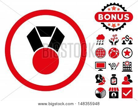 Achievement Medal icon with bonus images. Vector illustration style is flat iconic bicolor symbols intensive red and black colors white background.