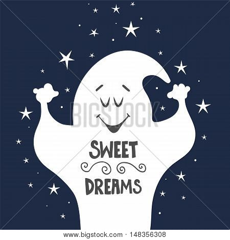 Vector illustration with cartoon ghost and hand drawn lettering. Baby background. Hand drawn illustration isolated on background. Text sweet dreams on blue sky background.