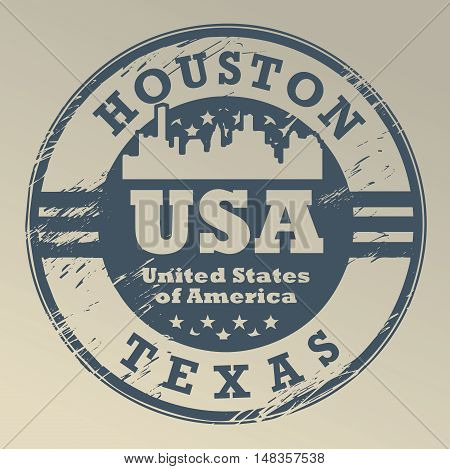 Grunge rubber stamp with name of Texas, Houston, vector illustration