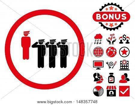 Army Squad icon with bonus elements. Vector illustration style is flat iconic bicolor symbols intensive red and black colors white background.