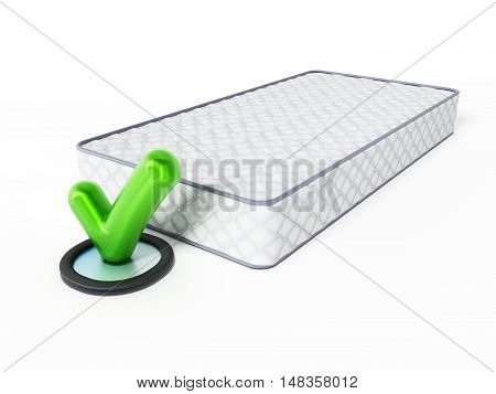 Mattress and tick sign isolated on white background. 3D illustration.