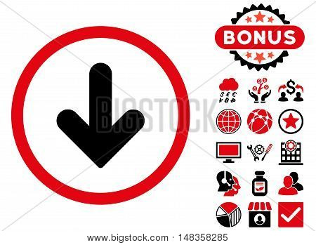 Arrow Down icon with bonus symbols. Vector illustration style is flat iconic bicolor symbols intensive red and black colors white background.