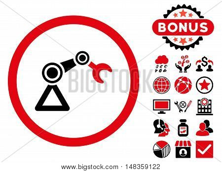 Artificial Manipulator icon with bonus pictures. Vector illustration style is flat iconic bicolor symbols intensive red and black colors white background.