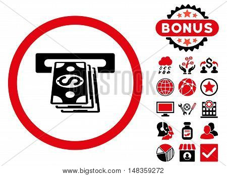 Atm Cashout icon with bonus design elements. Vector illustration style is flat iconic bicolor symbols intensive red and black colors white background.