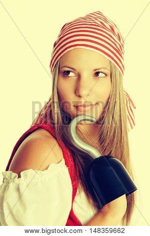 Woman dressed in halloween pirate costume