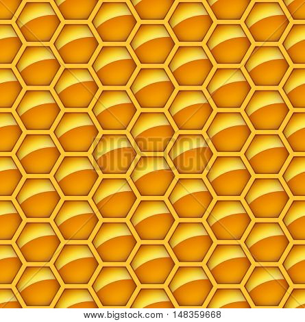 Seamless glossy orange honey comb vector background. Abstract hexagon tileable backdrop.