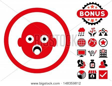 Baby Head icon with bonus symbols. Vector illustration style is flat iconic bicolor symbols intensive red and black colors white background.