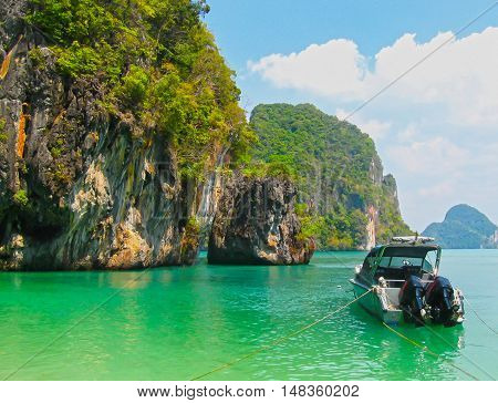 The blurred image of tropical landscape. Railay beach Krabi Thailand. View of the rock and sea