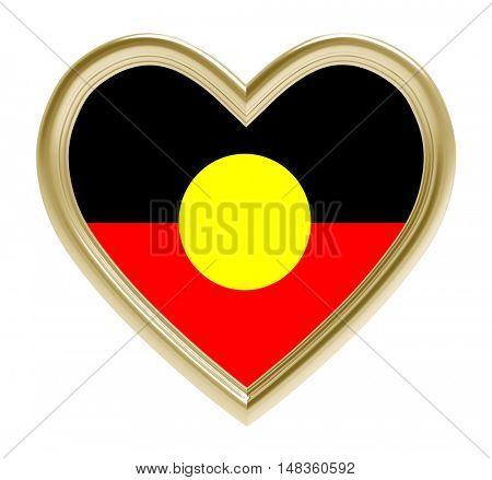 Australian Aborigines flag in golden heart isolated on white background. 3D illustration.