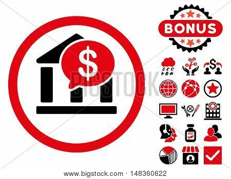 Bank Message icon with bonus elements. Vector illustration style is flat iconic bicolor symbols intensive red and black colors white background.