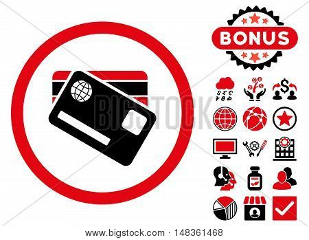 Banking Cards icon with bonus design elements. Vector illustration style is flat iconic bicolor symbols, intensive red and black colors, white background.